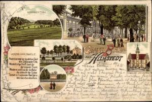 Litho Bad Helmstedt Helmstedt, Ehemalige Universität, Brunnental, Kriegerdenkmal