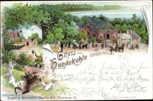 Litho Berlin Wilmersdorf Grunewald, Hundekehle, Jagdschloss