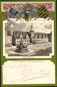 Künstler Wappen Litho Leipzig in Sachsen, Altes Rathaus, Siegesdenkmal