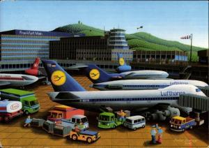 Künstler Ak Berlepp, Dieter, Frankfurt am Main, Flughafen, Deutsche Passagierflugzeuge, Lufthansa