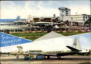 Ak Frankfurt am Main, Flughafen, Italienisches Passagierflugzeug, Alitalia