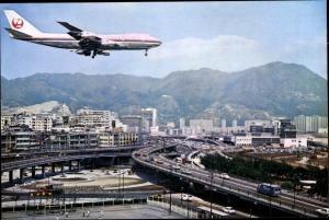 Ak Japan, Japanisches Passagierflugzeug im Landeanflug, JAL
