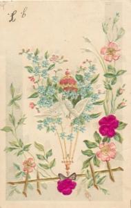 Stoff Präge Litho Kitsch, Tauben, Blüten