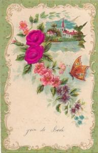Stoff Präge Litho Schmetterling, Rosen, Kirche, Blumen, Kitsch