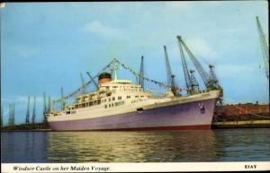 Ak Steamer Windsor Castle, Dampfschiff, Maiden Voyage, Union Castle Line