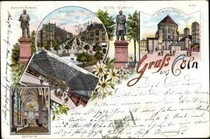Litho Köln am Rhein, St. Ursula, Hohenstaufenring, Moltke-Denkmal, St. Gereon Kirche,