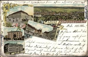 Litho Hildburghausen in Thüringen, Marktplatz mit Rathaus, Gymnasium, Technikum, Elektro Technikum