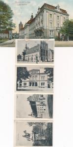 Leporello Ak Frankfurt Oder, Postgebäude, Baugewerkschule, Oderbrücke, Rathaus