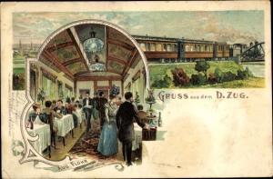 Litho Gruß aus dem D-Zug, Speisewagen, Restauration, Inh. Aug. Flohr aus Frankfurt am Main