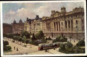 Künstler Ak Budapest Ungarn, Szabadsag ter, Osztrak Magyar Bank, Freiheitsplatz, Österr. ung. Bank