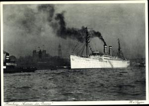 Ak Hamburg, Dampfschiff Ozeana bei der Ausreise, HAPAG