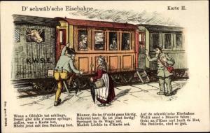 Lied Litho D' schwäb'sche Eisebahne, Karte II, Eisenbahn, Bahnhof, Schwaben