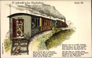 Lied Litho D' schwäb'sche Eisebahne, Karte III, Eisenbahn, Ziege, Schwaben