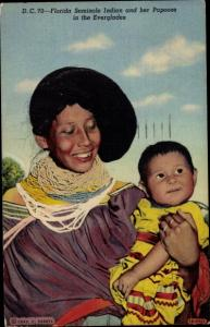 Ak Miami Beach Florida USA, Seminole Indian and her Papoose in the Everglades