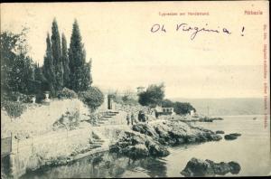 Ak Opatija Abbazia Kroatien, Cypressen am Nordstrand