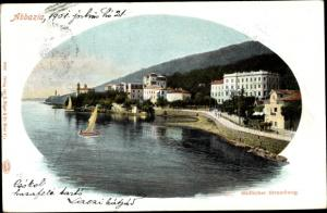 Ak Opatija Abbazia Kroatien, Südlicher Strandweg