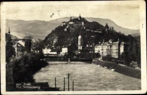 Ak Graz Steiermark, Mur, Schlossberg