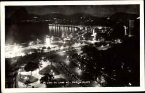 Foto Ak Rio de Janeiro Brasilien, Praca Paris bei Nacht