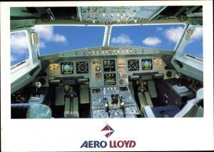 Ak Deutsches Passagierflugzeug, Aero Lloyd, Airbus A 320 321, Cockpit, Innenansicht