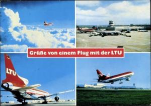 Ak Flughafen Düsseldorf, Deutsches Passagierflugzeug, LTU