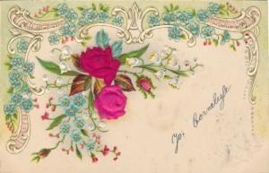 Stoff Präge Litho Kitsch, Rosen, Vergissmeinnicht, Blumen