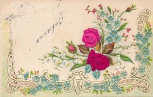 Stoff Präge Litho Rosen, Vergissmeinnicht, Blumen, Kitsch
