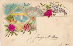 Stoff Präge Litho Rosen, Blumen, Schwalben, Kitsch