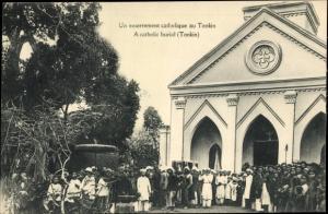 Ak Tonkin Vietnam, Un enterrement catholique, A catholic burial