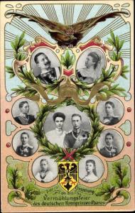 Präge Wappen Ak Vermählung Wilhelm von Preußen und Cecilie zu Mecklenburg, kaiserl. Familie