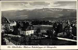 Ak Szklarska Poręba Schreiberhau Riesengebirge Schlesien, Blick vom Bahnhof gegen die Schneegruben