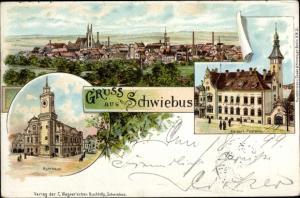 Litho Świebodzin Schwiebus Ostbrandenburg, Postamt, Rathaus, Totalansicht
