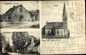 Ak Lindow Neumark Ostbrandenburg, Kirche, Gasthof T. Heuschke, Dorfstraße