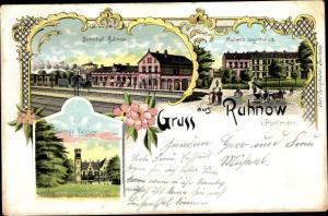 Litho Runowo Ruhnow Pommern, Bahnhof, Gleisseite, Müller's Logierhaus, Schloss
