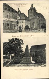 Ak Dommitzsch Elbe Nordsachsen Sachsen, Marktplatz mit Kirche und Rathaus, Denkmal Turner
