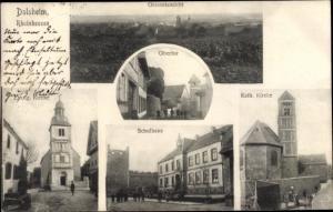 Ak Dalsheim Rheinhessen, Gesamtansicht, Obertor, Kath. Kirche, Evang. Kirche