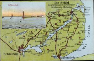 Landkarten Ak Kappeln an der Schlei, Lotseninsel Schleimünde, Schleswig, Eckernförde, Arnis, Barup