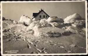 Ak Kappeln an der Schlei, Lotseninsel Schleimünde, Lotsenhaus im Winter
