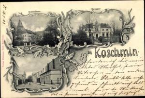 Ak Koźmin Wielkopolski Deutsch Koschmin Posen, Villa, Straßenpartie, Schloss