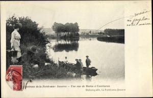 Ak La Ferté sous Jouarre Seine et Marne, Un vue de Marne à Courtaron