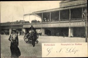 Ak Rotterdam Südholland Niederlande, Beursplein en Station, Kutsche