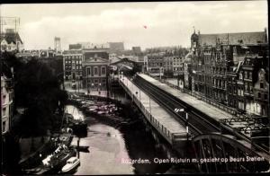Ak Rotterdam Südholland Niederlande, Open Rijstuin m. gezicht op Beurs Station