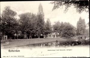 Ak Rotterdam Südholland Niederlande, Westersingel met Remonst. kerkgeb.