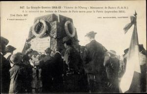 Ak Barcy Seine-et-Marne, La Grande Guerre 1914 15 Victoire de l'Ourcq, Monument de Barcy