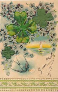 Stoff Präge Litho Schwalbe, Kleeblätter, Blumen, Kitsch
