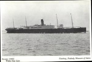 Ak Steamer Arabic, Dampfschiff, White Star Line