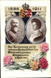 Künstler Ak Schnorr, P., Silberne Hochzeit des Württembergischen Königspaares 1911