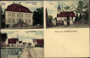 Ak Kobershain Belgern Schildau in Nordsachsen, Schloss, Kirche, Dorfstraße