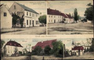 Ak Kobershain Belgern Schildau in Nordsachsen, Rittergut, Kirche, Dorfstraße, Gasthof Quelle