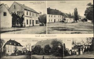 Ak Kobershain Belgern Schildau in Nordsachsen, Gasthaus zur guten Quelle, Pfarrhaus, Rittergut