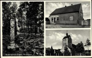 Ak Weidenhain Dreiheide Sachsen, Bärensäule, Denkmal, Kirche, Bäckerei